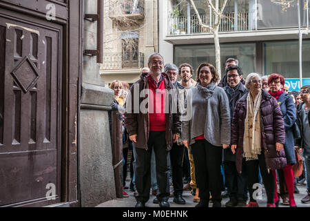 Barcelona, Catalonia, Spain. 21st Jan, 2018. Ada Colau, Mayor of Barcelona, and representatives of civic associations - Stock Photo