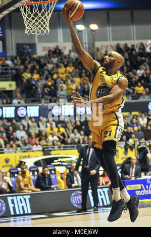 Turin, Italy. 21st Jan, 2018. Andre Jones (Fiat Auxilium Torino) during the CAMPIONATO BASKET SERIE A 2017/18 basketball - Stock Photo