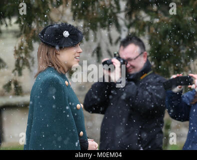 Castle Rising, Norfolk, UK. 21st Jan, 2018. Princess Eugenie braves falling snow after attending the St. Lawrence - Stock Photo