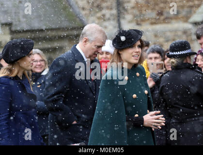 Castle Rising, Norfolk, UK. 21st Jan, 2018. L-R: Princess Beatrice, Prince Andrew, Duke of York, and Princess Eugenie - Stock Photo
