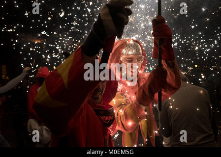 Barcelona, Spain. 21st Jan, 2018. In Barcelona devils march under the pyrotechnics during a correfoc (runfire) for - Stock Photo