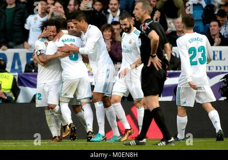 Madrid, Spain. 21st Jan, 2018. Real Madrid's players celebrate after a Spanish league match between Real Madrid - Stock Photo