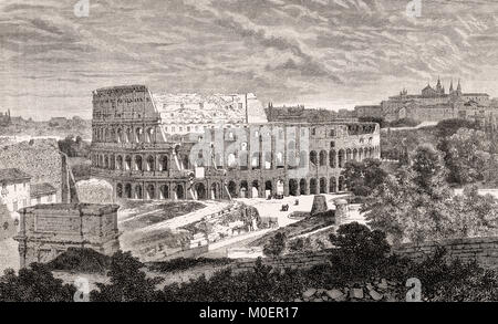 The Colosseum, ancient Amphitheatre, Rome, Italy, 19th Century - Stock Photo