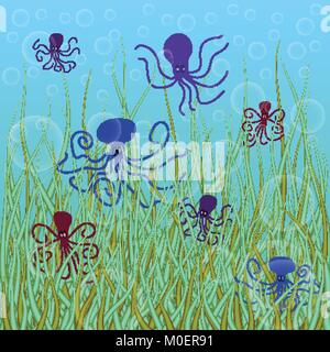 abstract vector underwater background with octopuses and bubbles - Stock Photo