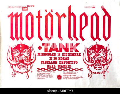 Motorhead and Tank in concert, Madrid December 1981. Musical concert poster - Stock Photo