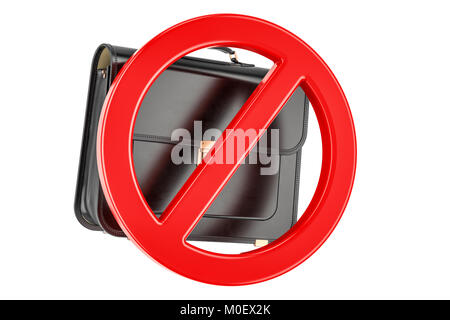Forbidden sign with briefcase, 3D rendering isolated on white background - Stock Photo