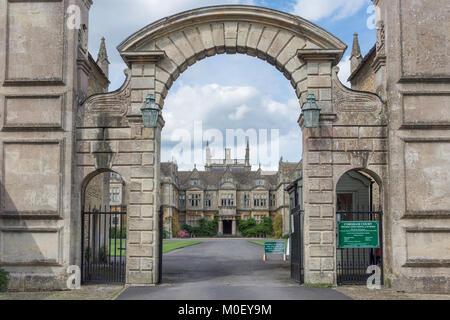 Entrance to Corsham Court, Church Square, Corsham, Wiltshire, England, United Kingdom - Stock Photo