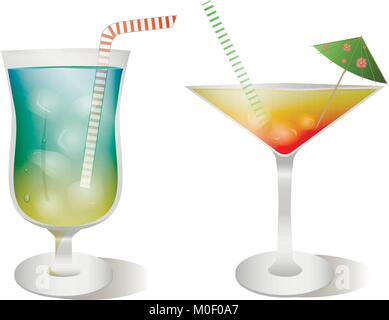 Vector set of stemware and glasses with cocktail. blue lagoon and tequila sunrise realistic, style - Stock Photo