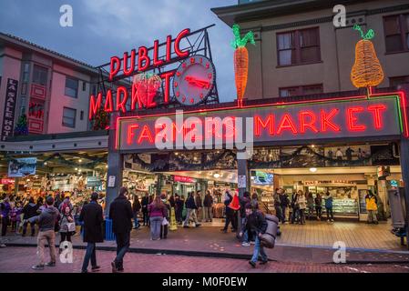 United States, Washington, Seattle, Pike Place Market - Stock Photo