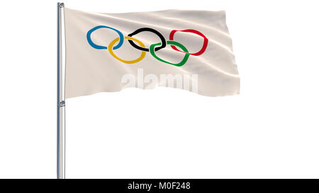 3D illustration of Olympic Games flag on a flagpole fluttering in the wind on a white background, 3d rendering - Stock Photo