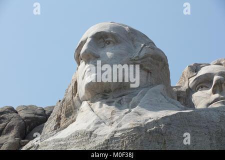 The Mount Rushmore National Memorial in Keystone South Dakota showing George Washington, Thomas Jefferson, Theodore - Stock Photo