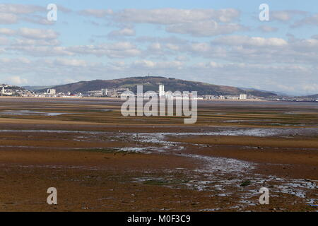 SWANSEA BAY, South Wales, UK - September 27, 2015: Swansea bay, seen here at low tide, is the proposed site for - Stock Photo