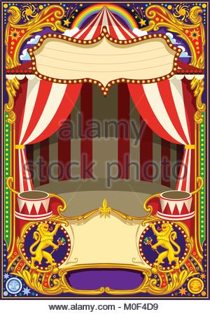 Circus poster theme. Vintage frame with circus tent for kids ...