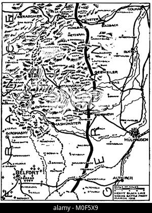 WWI - A 1917 map showing military activity in the 1914-1918 First World War  showing  the area where fighting took - Stock Photo