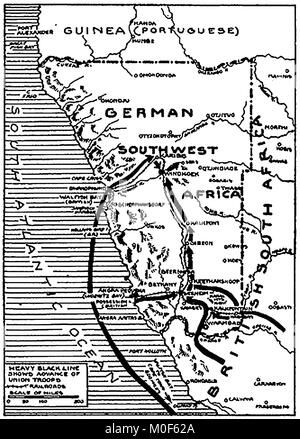 WWI - A 1917 map showing military activity in the 1914-1918 First World War - South West Africa & its conquest by - Stock Photo