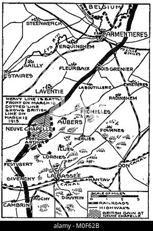 WWI - A 1917 map showing military activity in the 1914-1918 First World War - WWI map Battle at Neuve Chapelle 1915 - Stock Photo