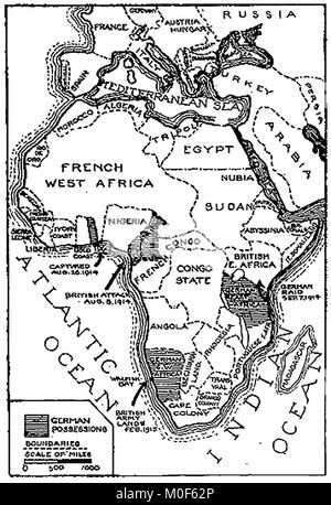 WWI - A 1917 map showing military activity in the 1914-1918 - First World War - The campaign in  Togoland & Cameroons - Stock Photo