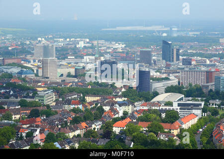 Dortmund - city in Ruhrgebiet (Ruhr Metropolitan Region) in Germany. Aerial view. - Stock Photo