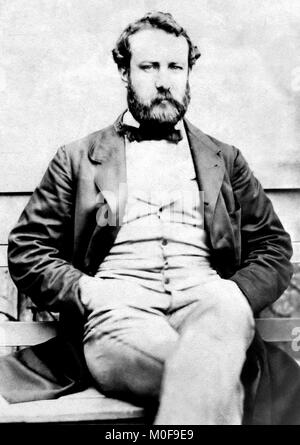 Jules Verne (1828-1905). Portrait of the French writer c.1856 - Stock Photo