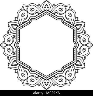 Unusual, hexagonal, lace frame, decorative element with empty place for your text. Vector illustration. - Stock Photo