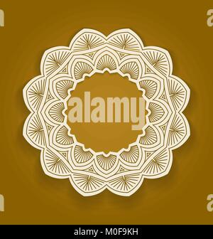 Round ornamental frame, circle floral background, mandala pattern, vector illustration in brown color. Can be used - Stock Photo