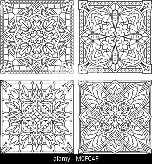 Set of 4 abstract vector black square lace designs in mono line style - mandala, ethnic decorative elements. Can - Stock Photo