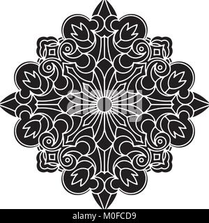 Abstract vector black square lace design in mono line style - mandala, ethnic decorative elements. - Stock Photo