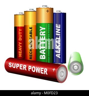 Set of AA batteries - Stock Photo