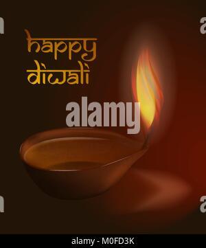 Burning diya on Diwali Holiday background vector illustration with caption Happy Diwali - Stock Photo