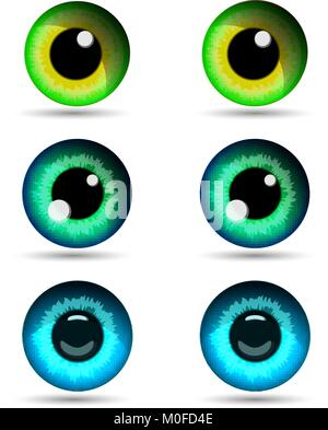 Set of three pair of eyes. Vector illustration. - Stock Photo