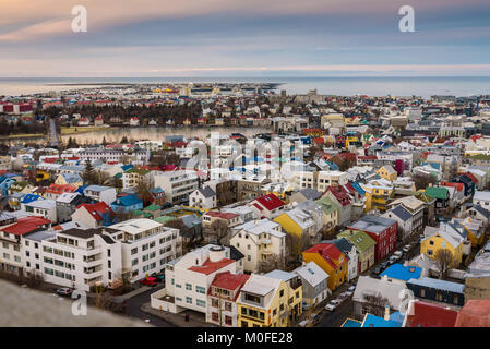 Scenic aerial view of the city centre of Reykjavik, capital of Iceland, with typical colourful houses, seen from - Stock Photo
