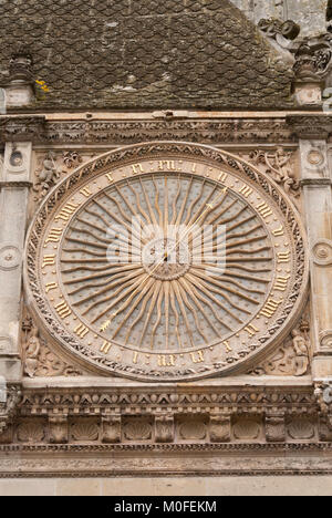 clock detail on the Chartres Cathedral in Chartres France - Stock Photo