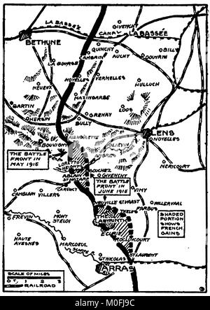 WWI - A 1917 map showing military activity in the 1914-1918 First World War -  2nd Battle of Artois - Stock Photo