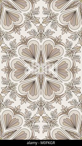 Seamless abstract tribal pattern. Hand drawn ethnic texture, vector illustration in light brown and beige tones. - Stock Photo