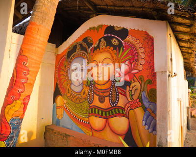 12/31/2017. Varkala, India. Artwork painted on a wall in the city of Varkala. - Stock Photo
