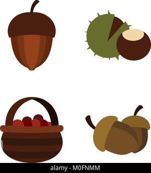 Nuts icon set, flat style - Stock Photo