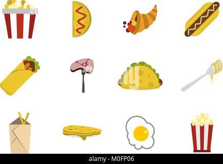 Food icon set, flat style - Stock Photo