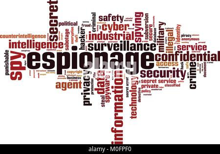 Espionage word cloud concept. Vector illustration - Stock Photo