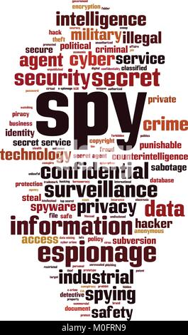 Spy word cloud concept. Vector illustration - Stock Photo