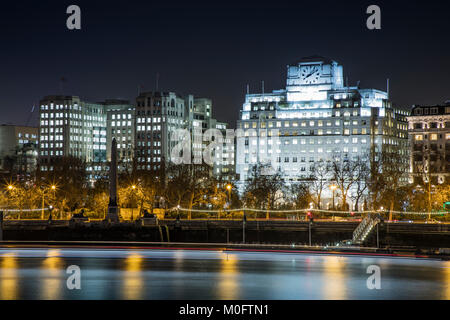 A view over the Thames towards Shell Mex House and Victoria Embankment on January 17th 2018 in London, UK - Stock Photo