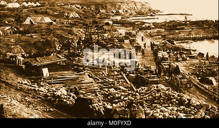 WWI  photo -  Suvla or Servia Bay  Gallipoli. two days before British & French troops evacuated in World War One - Stock Photo
