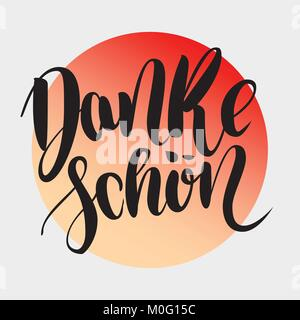 Danke schoen. Thank you in german. Vector hand drawn brush lettering on colorful gradient isolated on grey background. - Stock Photo