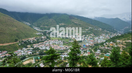 Old mountain town with many traditional houses in Paro, Bhutan. - Stock Photo