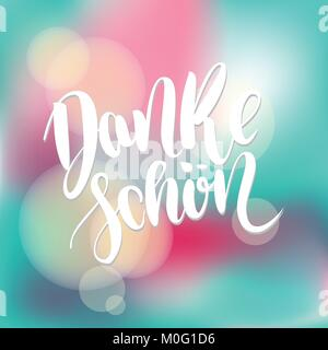 Danke schoen. Thank you in german. Vector hand drawn brush lettering on colorful blue blurred background. - Stock Photo
