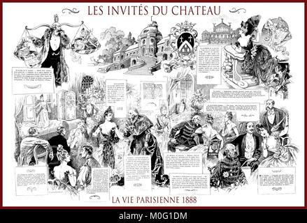French satirical magazine La vie Parisienne 1888, central page: les invités du chateau - castle guests, humor, caricatures, - Stock Photo