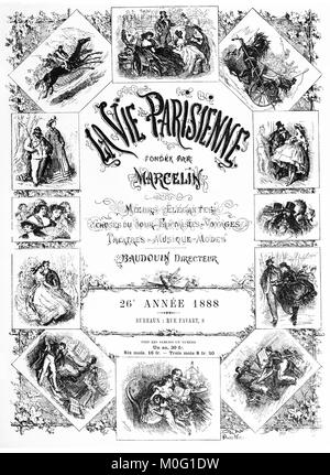 French satirical magazine La vie Parisienne 1888, annual collection front cover, humor, caricatures, portraits - Stock Photo