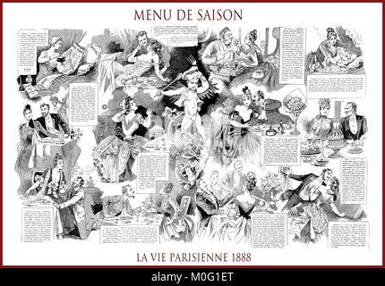 French satirical magazine La vie Parisienne 1888, central page:menu de saison - seasonal menu. Humor, caricatures, - Stock Photo