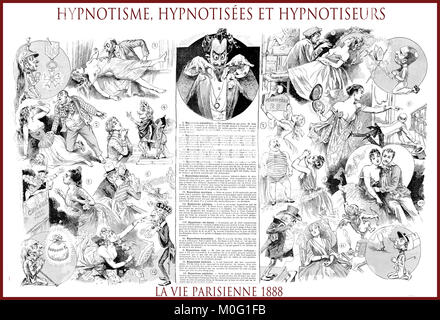 French satirical magazine La vie Parisienne 1888, central page:hypnotisme, hypnotisées et hypnotiseur - hypnotism, - Stock Photo