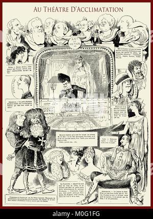 French satirical magazine La vie Parisienne 1888, au théatre d'acclimatation -  theater of acclimatization. Humor, - Stock Photo