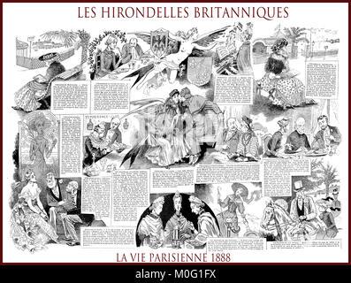 French satirical magazine La vie Parisienne 1888, central page:les hirondelles britanniques - the British swallows. - Stock Photo